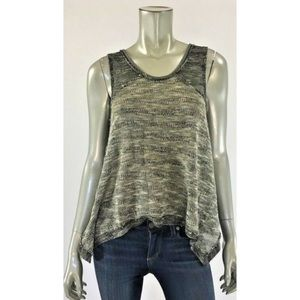 Free People Crotched Knit Distressed Top